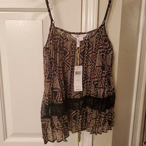 NWT bcbg cami with lace accent